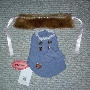 NWT WoofLink Knitted Shirt/Faux Fur/Pearl Collar